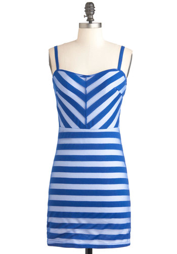 A Matter of Maritime Dress - White, Stripes, Casual, Spaghetti Straps, Summer, Short, Nautical, Bodycon / Bandage, Blue, Sweetheart