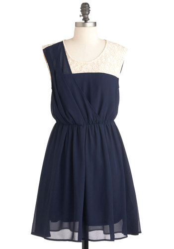 Filled with Happiness Dress - Blue, Tan / Cream, Solid, Lace, Party, A-line, Sleeveless, Mid-length, Sheer