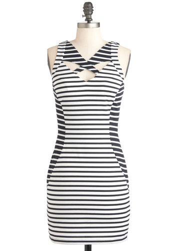 Op Art Gallery Dress - Black, White, Stripes, Backless, Cutout, Party, Mini, Sleeveless, Summer, Girls Night Out, Short, Exposed zipper, Bodycon / Bandage