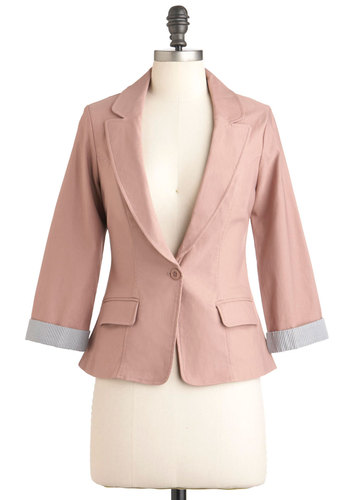 Mauve Up the Ladder Blazer - Pink, Solid, Pockets, Menswear Inspired, Mid-length, Work, 1