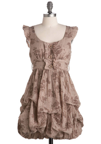 Tea Leaves Dress - Brown, Floral, Ruffles, Empire, Cap Sleeves, Vintage Inspired, Show On Featured Sale, Short, 20s, 30s