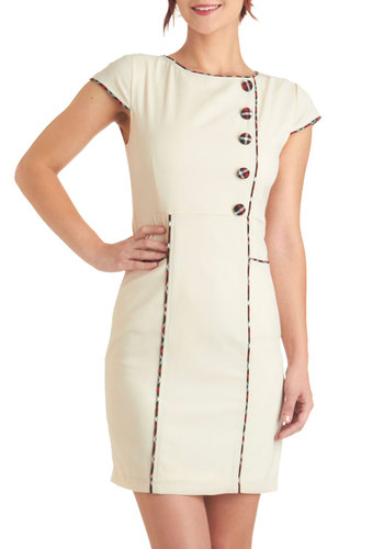 Literary Anthologist Dress - Cream, Solid, Buttons, Work, Sheath / Shift, Cap Sleeves, Fall, Red, Black, Trim, Vintage Inspired, 60s, Mid-length, Pockets, Exclusives, Scholastic/Collegiate, Mod, Graduation