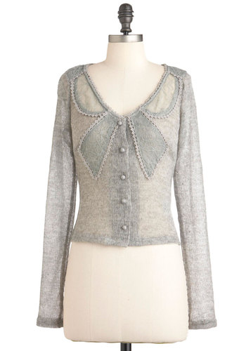 Beauty a la Bowed Cardigan by Ryu - Grey, Solid, Buttons, Lace, Long Sleeve, Short, Casual, Sheer, Button Down, V Neck