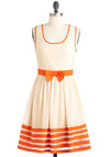 Cute As a Cupcake Dress - Cream, Orange, Bows, Trim, Party, A-line, Sleeveless, Spring, Mid-length, Daytime Party, Fit & Flare
