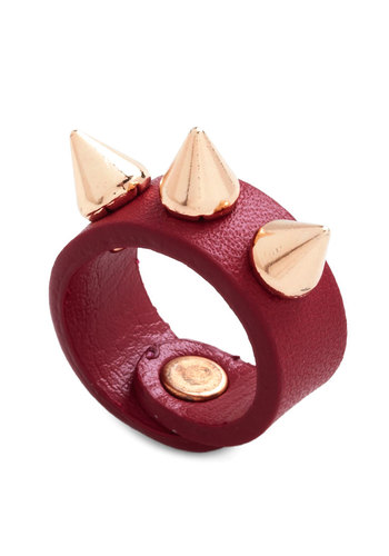 Pros and Conical Ring - Red, Gold, Solid, Studs, Statement, 90s, Girls Night Out