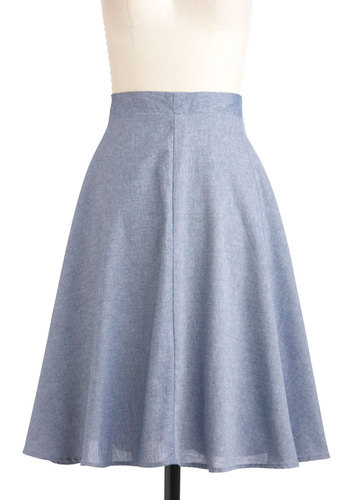 Swish Come True Skirt - Blue, Solid, Casual, A-line, Long, Cotton