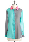 The Bright Choice Top in Teal - Multi, Pink, Grey, Buttons, Long Sleeve, Colorblocking, Blue, Mid-length, Neon, Sheer, Mint, Button Down, Collared