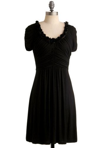 Dramatic Arts Dress - Black, Solid, Flower, Casual, A-line, Short Sleeves, Mid-length, Scoop, Exclusives