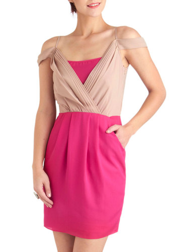 Vibrant in Vegas Dress - Short, Pink, Tan / Cream, Pleats, Party, Shift, Spaghetti Straps, Summer, Pockets