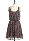 Fresh Fall Rain Dress - Black, Grey, Print, Party, A-line, Sleeveless, Mid-length, Red, Casual