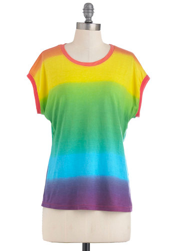 Singing in the Rainbow Top by Motel - Casual, Multi, Red, Yellow, Green, Blue, Purple, Tie Dye, Short Sleeves, Vintage Inspired, Mid-length, Neon