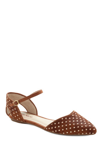 Know Your Tuft Flat - Brown, White, Polka Dots, Cutout, Casual, Leather, Flat