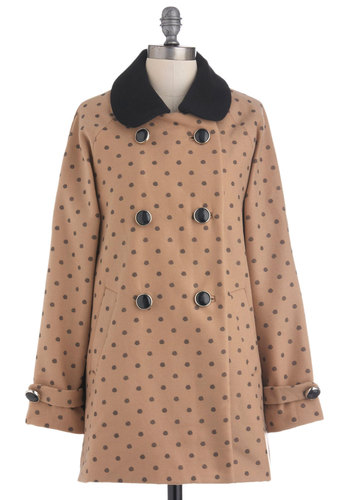 Becoming in Buds Coat by Yumi - Long, Tan, Polka Dots, Bows, Buttons, Casual, Long Sleeve, 3, Double Breasted