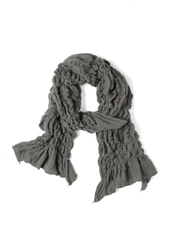 Ruche to Your Side Scarf in Rain Cloud - Grey, Solid, Ruffles