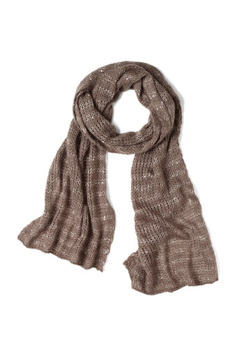Silver Lining Scarf - Tan, Stripes