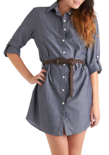 Chambray of the Week Dress - Mid-length, Blue, Solid, Buttons, Casual, Shift, 3/4 Sleeve, Belted, Exclusives
