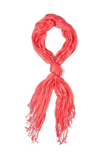 Crinkle in Time Scarf in Coral - Orange, Solid, Fringed, Pastel, Coral, Minimal