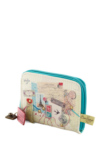 Round Trip Wallet by Disaster Designs - Multi, Blue, Embroidery, Studs, Travel, Faux Leather, International Designer