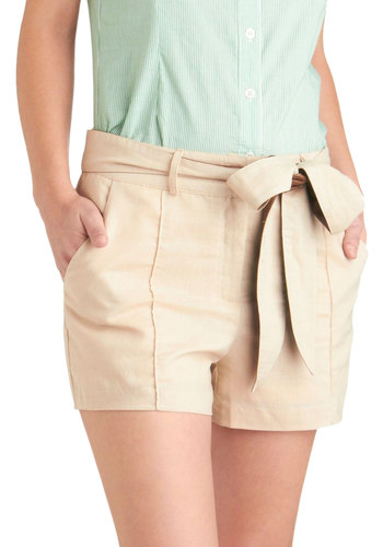 Exquisite Expedition Shorts - Tan, Brown, Solid, Casual, Belted, Pockets, Exclusives, Beach/Resort