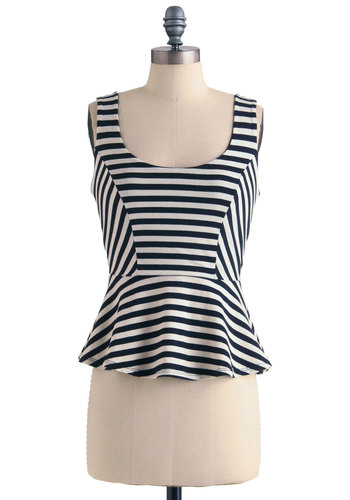 Beach Dance Party Top - Mid-length, White, Stripes, Casual, Pinup, Tank top (2 thick straps), Black, Steampunk, Peplum