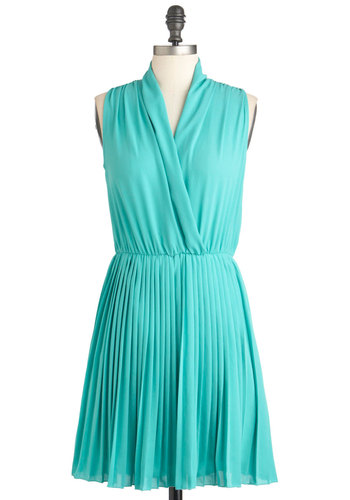 Seaside Mojitos Dress - Solid, Pleats, A-line, Sleeveless, Mid-length, Blue, Party
