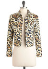 Cheetah a Go-Go Jacket by Motel - Brown, Tan / Cream, Black, Animal Print, Buttons, Party, Long Sleeve, Urban, Girls Night Out, 1, Short