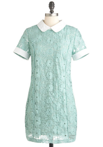 Sage You'll Be Mine Dress - White, Party, Short Sleeves, Short, Peter Pan Collar, Shift, 60s, Pastel, Sheer, Collared, Mod, Mint, Graduation