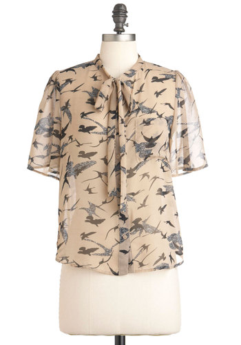 Birdsong Lyrics Top - Tan, Black, Print with Animals, Buttons, Pockets, Casual, Short Sleeves, Tie Neck, Mid-length, Sheer