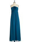Dazzling at the Dance Dress - Long, Blue, Solid, Flower, Wedding, Maxi, Strapless, Ruching, Special Occasion, Prom, Bridesmaid, Exclusives, Gifts Sale