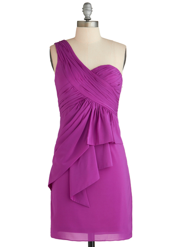 Contagious Vivaciousness Dress - Mid-length, Purple, Solid, Wedding, Party, Shift, One Shoulder, Ruching, Special Occasion