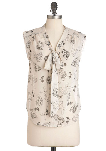 Id Rather Be Thrifting Top - Cream, Black, Sleeveless, Tie Neck, Casual, Mid-length, Sheer