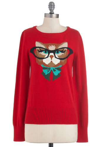 Cat Eyeglasses Sweater in Red by Louche - Red, Green, Brown, Black, Casual, Long Sleeve, Mid-length, Quirky, Print with Animals, Fall, International Designer, Novelty Print