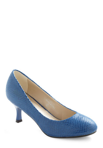 Serpentine Sheen Heel - Blue, Solid, Work, Vintage Inspired, Mid