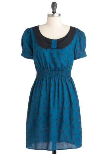 Never Say Neigh Dress - Mid-length, Blue, Black, Print with Animals, Casual, Short Sleeves, Sheath / Shift, Collared