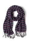 Let's Do Scrunch Scarf in Delphinium - Purple, Grey, Stripes, Knitted, Winter, Holiday Sale
