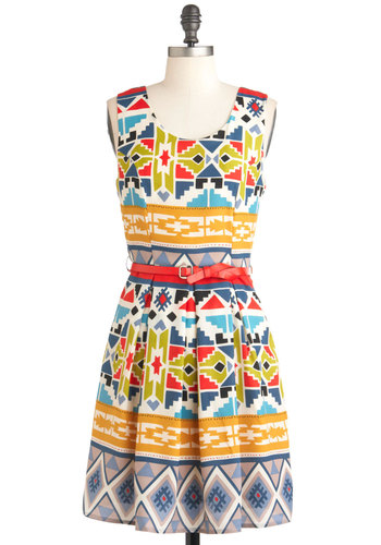 Adobe Art Show Dress - Mid-length, Multi, Print, Pleats, Party, A-line, Sleeveless, Summer, Belted