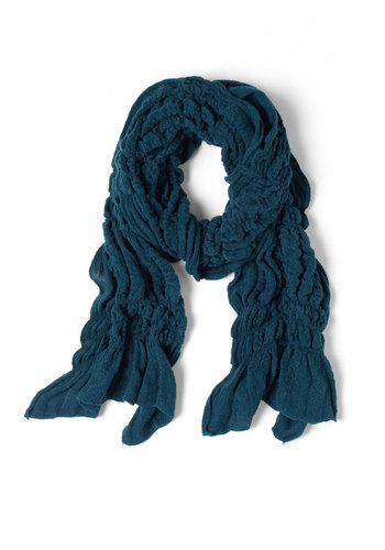 Ruche to Your Side Scarf in Deep Blue - Blue, Ruffles