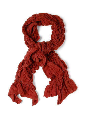 Ruche to Your Side Scarf in Brick Red - Red, Ruffles