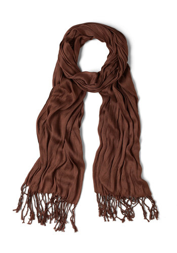 Crinkle in Time Scarf in Cocoa - Brown, Fringed, Minimal