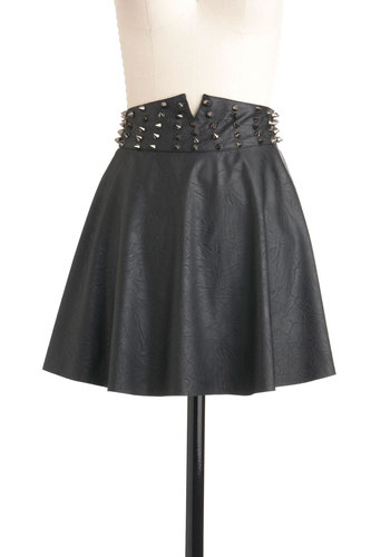 Riveting Rockstar Skirt - Black, Short, Studs, A-line, Solid, Party, International Designer