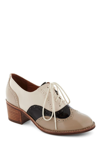 Standing Clout Heel by Jeffrey Campbell - Multi, Tan / Cream, Black, Casual, Vintage Inspired, 30s, 40s, Work, Menswear Inspired, Steampunk, Mid, Leather, Faux Leather