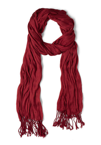 Crinkle in Time Scarf in Ruby - Red, Fringed, Minimal, Variation