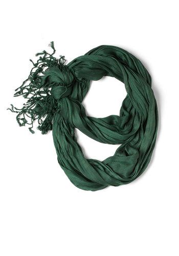 Crinkle in Time Scarf in Evergreen - Green, Fringed, Minimal