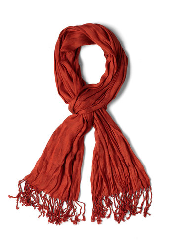 Crinkle in Time Scarf in Rust - Fringed, Orange, Minimal