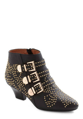 Gimme a Glint Bootie by Jeffrey Campbell - Black, Solid, Buckles, Studs, Casual, Military, Urban, Leather, Mid