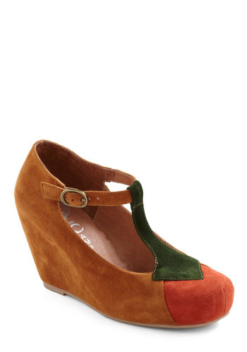 Deciduous Darling Wedge by Jeffrey Campbell - Wedge, Brown, Orange, Green, Casual, Fall, Leather, Suede, Platform, Mid