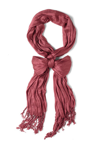 Crinkle in Time Scarf in Berry - Red, Fringed, Minimal