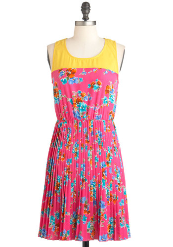 Dining Cheerfully Dress - Pink, Floral, Pleats, Summer, Mid-length, Multi, Casual, Sleeveless, Multi, Shift, Neon