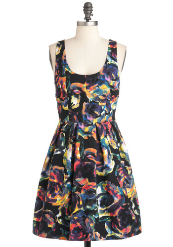 Glow and Behold Dress by Jack by BB Dakota - Multi, Cutout, Party, Urban, Sleeveless, Print, Pleats, Fit & Flare, Fall, Cotton, Mid-length, Multi, Neon, Scoop