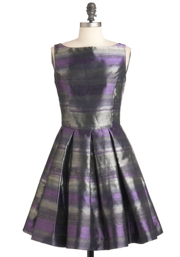 Classic Stunner Dress in Horizon by BB Dakota - Purple, Stripes, Pleats, Sleeveless, Grey, Fit & Flare, Short, Cocktail, Holiday Party, Formal, Prom